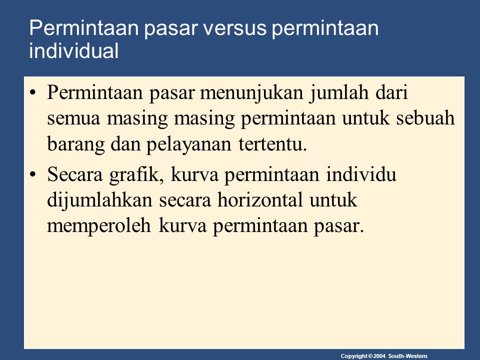 Permintaan pasar versus permintaan individual