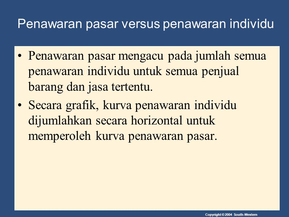 Penawaran pasar versus penawaran individu