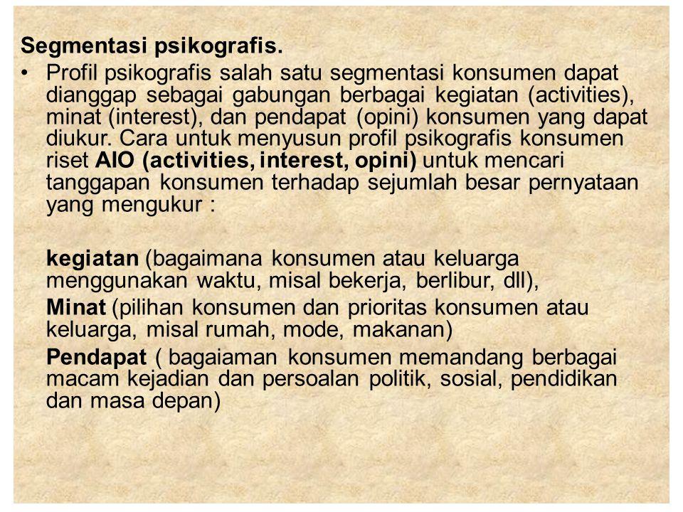 Segmentasi psikografis.