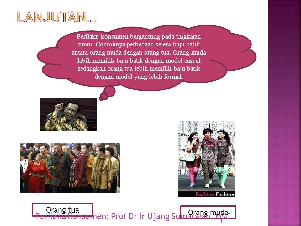 Lanjutan… Perilaku Konsumen: Prof Dr Ir Ujang Sumarwan, MSC Orang tua