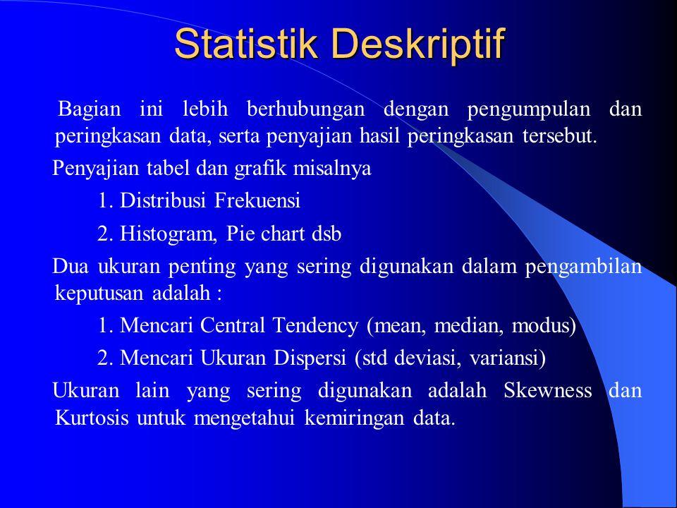 Statistik Deskriptif Bagian ini lebih berhubungan dengan pengumpulan dan peringkasan data, serta penyajian hasil peringkasan tersebut.