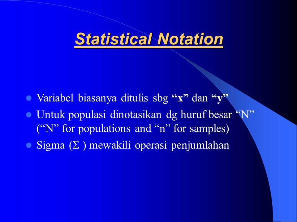 Statistical Notation Variabel biasanya ditulis sbg x dan y