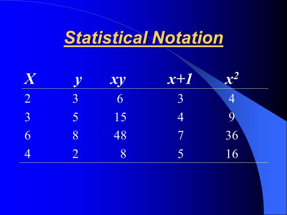 Statistical Notation X y xy x+1 x2 2 3 6 3 4 3 5 15 4 9 6 8 48 7 36