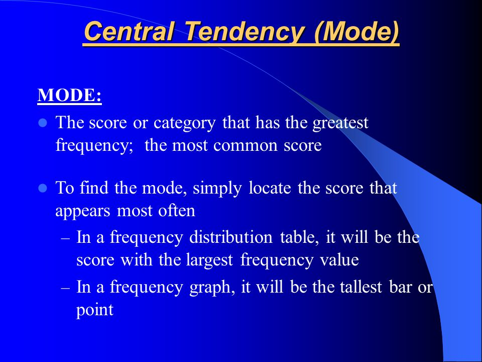 Central Tendency (Mode)
