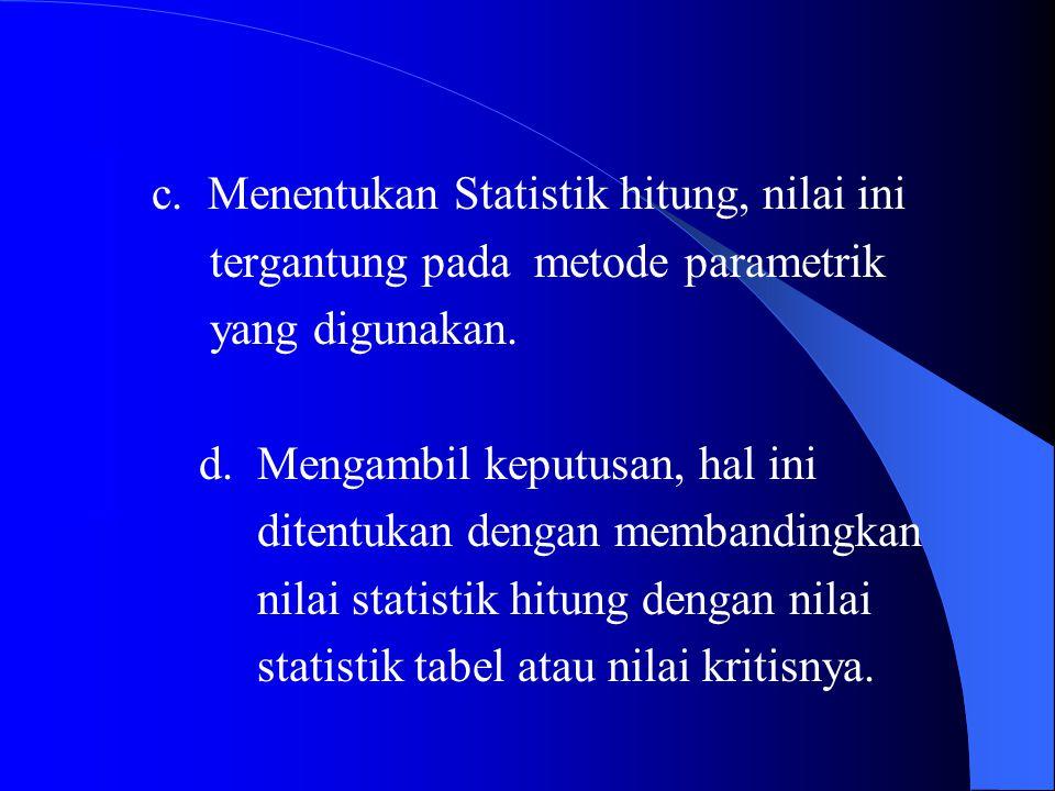 c. Menentukan Statistik hitung, nilai ini