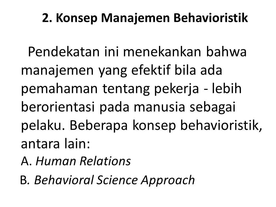 2. Konsep Manajemen Behavioristik