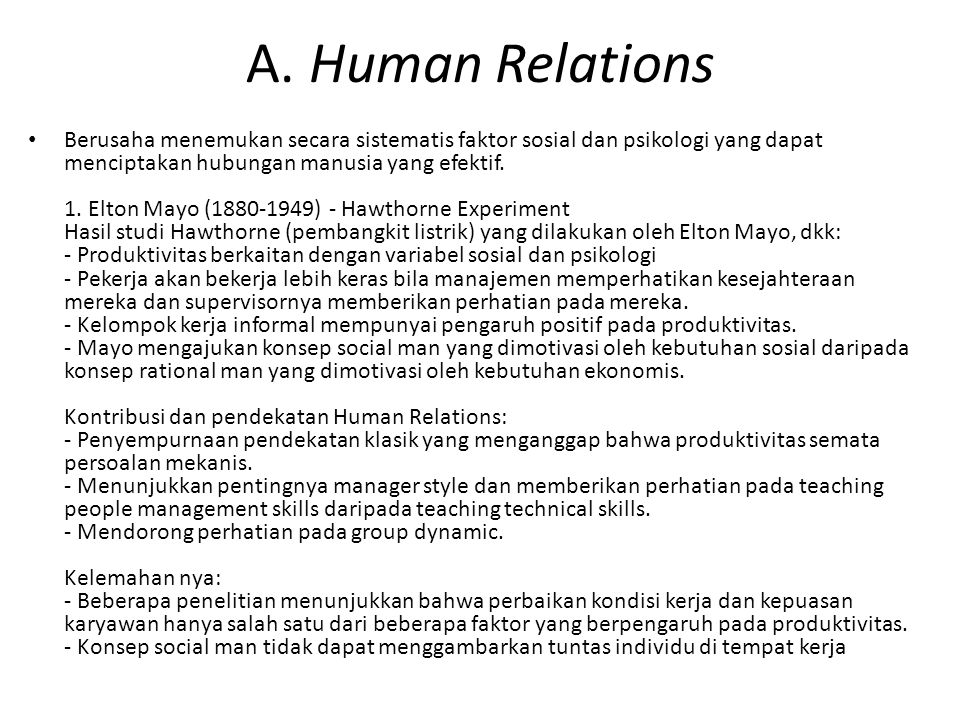 A. Human Relations