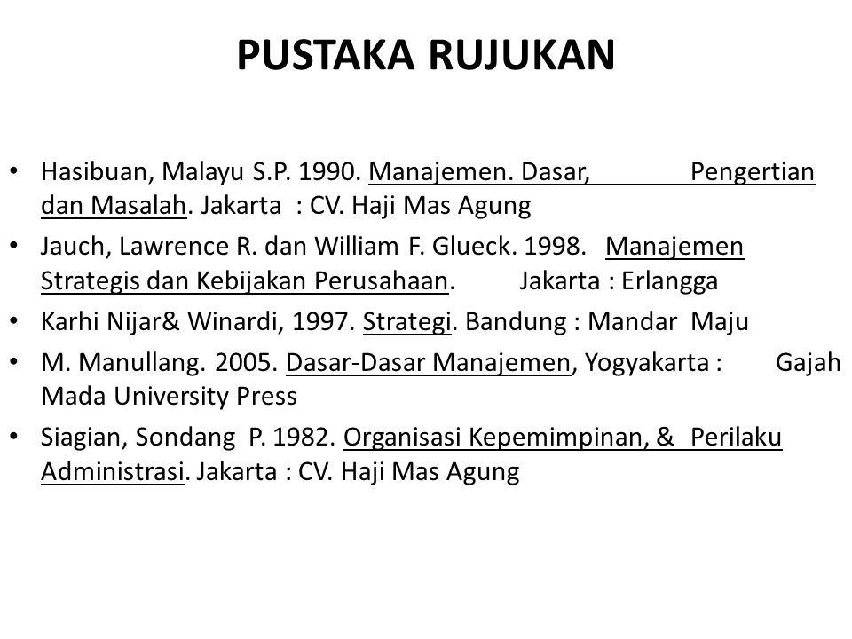 PUSTAKA RUJUKAN Hasibuan, Malayu S.P. 1990. Manajemen. Dasar, Pengertian dan Masalah. Jakarta : CV. Haji Mas Agung.