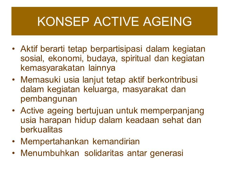 KONSEP ACTIVE AGEING Aktif berarti tetap berpartisipasi dalam kegiatan sosial, ekonomi, budaya, spiritual dan kegiatan kemasyarakatan lainnya.