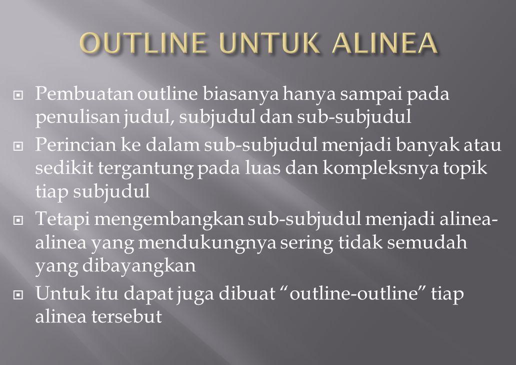 OUTLINE UNTUK ALINEA Pembuatan outline biasanya hanya sampai pada penulisan judul, subjudul dan sub-subjudul.