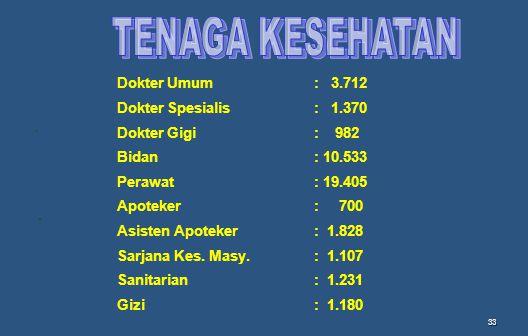 TENAGA KESEHATAN Dokter Umum : 3.712 Dokter Spesialis : 1.370