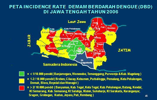 PETA INCIDENCE RATE DEMAM BERDARAH DENGUE (DBD) DI JAWA TENGAH TAHUN 2006