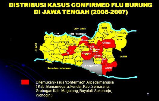 DISTRIBUSI KASUS CONFIRMED FLU BURUNG DI JAWA TENGAH (2005-2007)