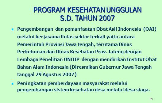 PROGRAM KESEHATAN UNGGULAN S.D. TAHUN 2007
