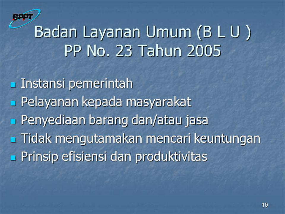 Badan Layanan Umum (B L U ) PP No. 23 Tahun 2005
