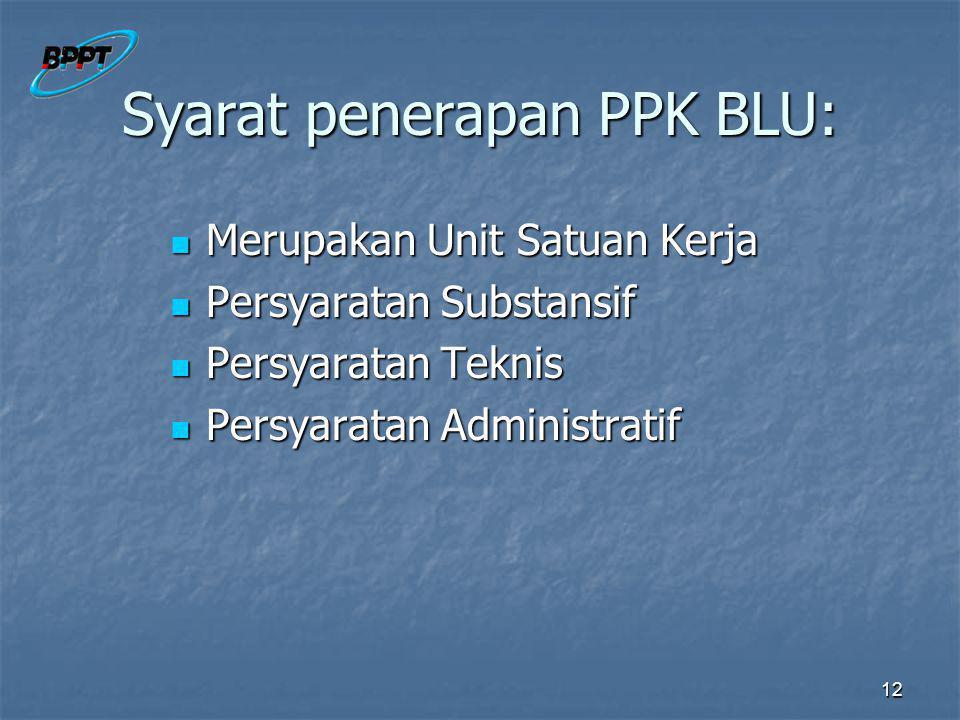 Syarat penerapan PPK BLU: