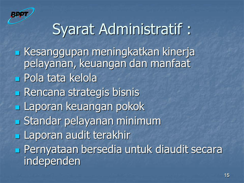 Syarat Administratif :