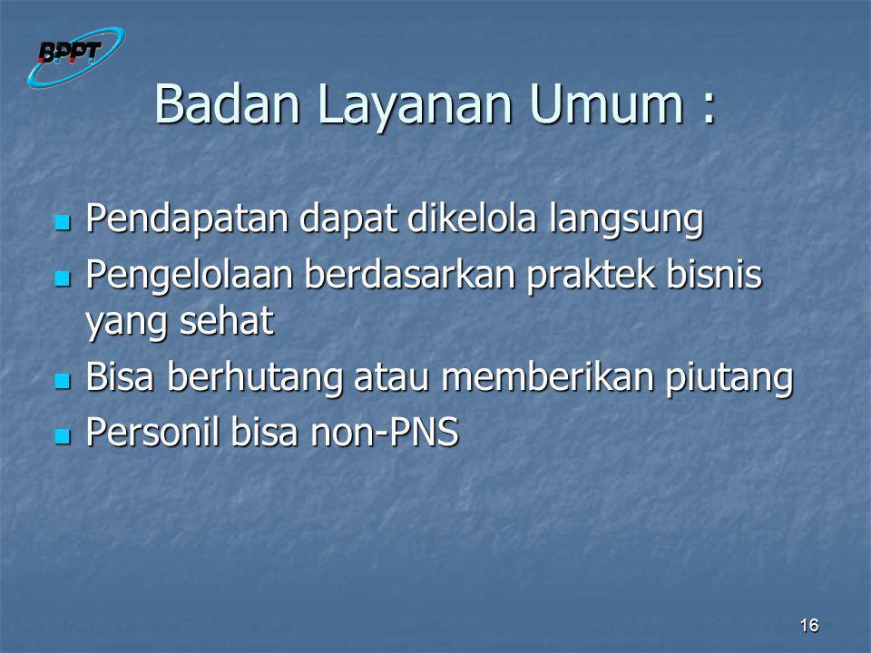 Badan Layanan Umum : Pendapatan dapat dikelola langsung