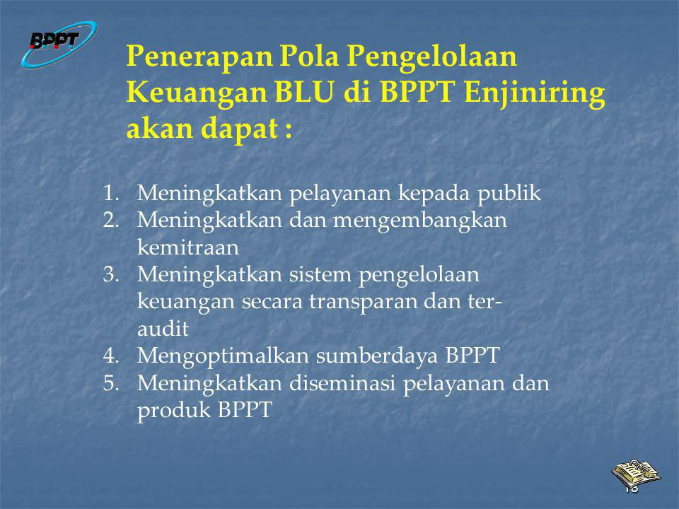 Penerapan Pola Pengelolaan Keuangan BLU di BPPT Enjiniring akan dapat :