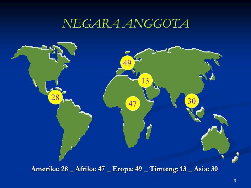 Amerika: 28 _ Afrika: 47 _ Eropa: 49 _ Timteng: 13 _ Asia: 30