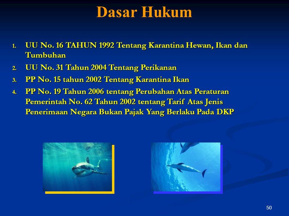 Dasar Hukum UU No. 16 TAHUN 1992 Tentang Karantina Hewan, Ikan dan Tumbuhan. UU No. 31 Tahun 2004 Tentang Perikanan.