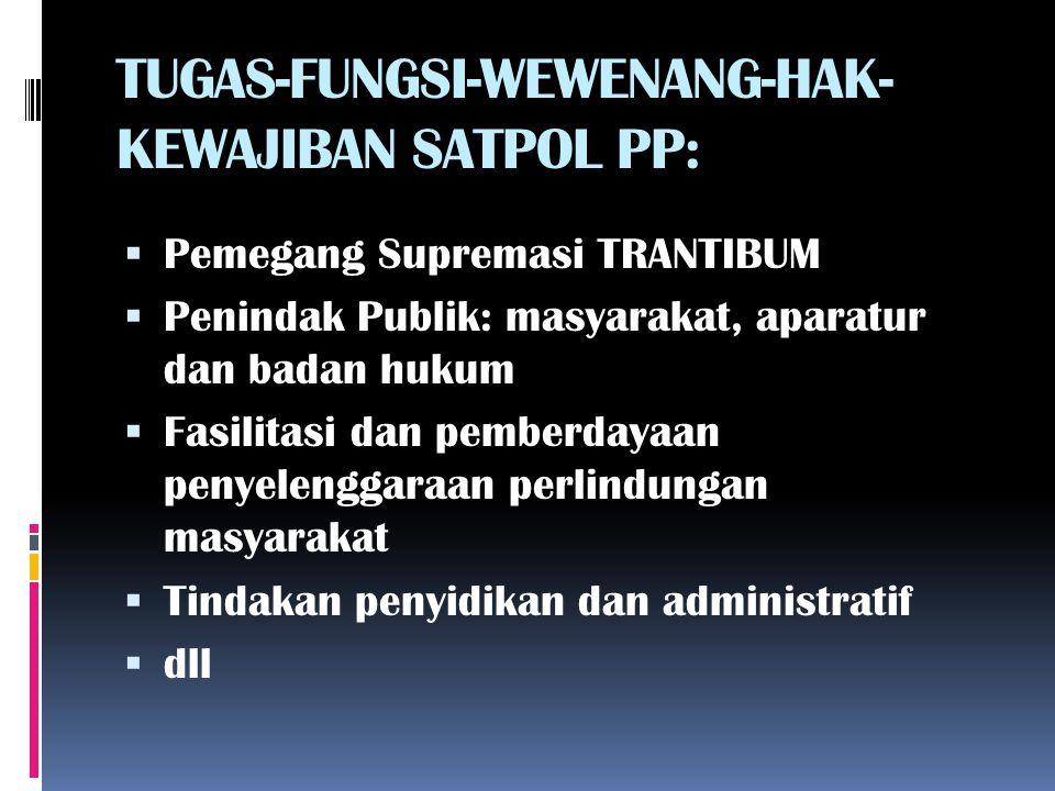 TUGAS-FUNGSI-WEWENANG-HAK-KEWAJIBAN SATPOL PP: