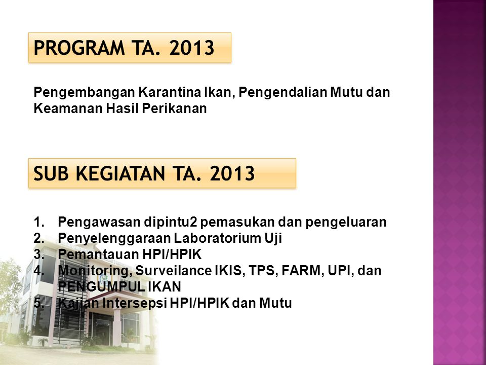 PROGRAM TA. 2013 SUB KEGIATAN TA. 2013