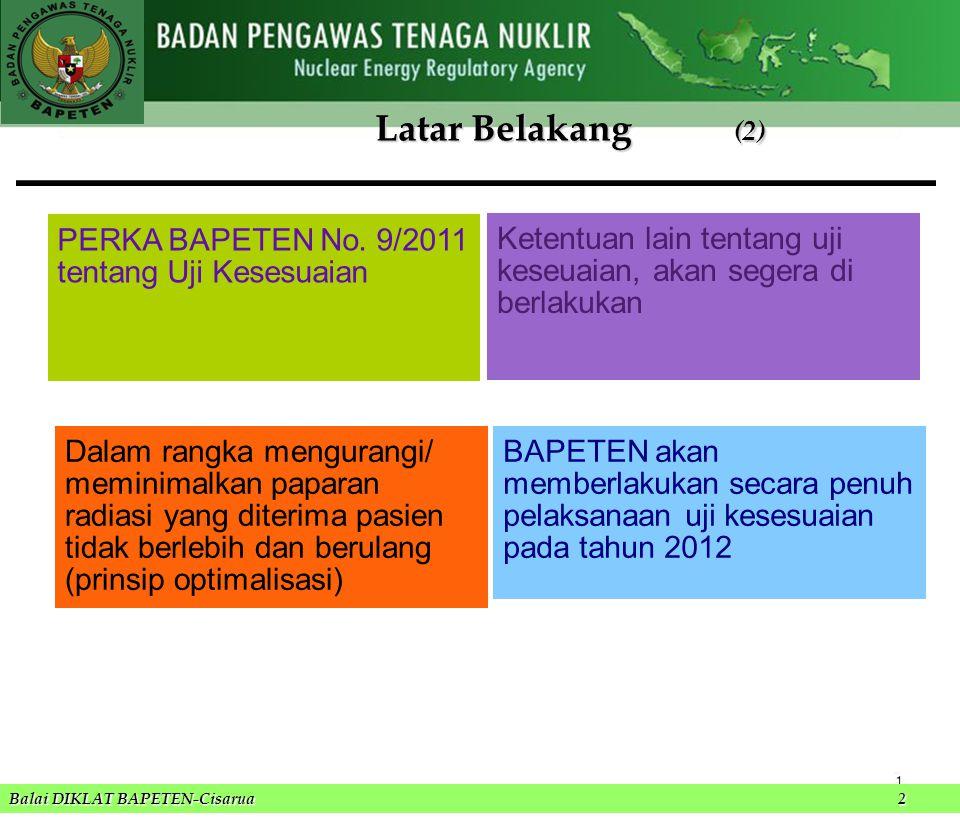 Latar Belakang (2) PERKA BAPETEN No. 9/2011 tentang Uji Kesesuaian