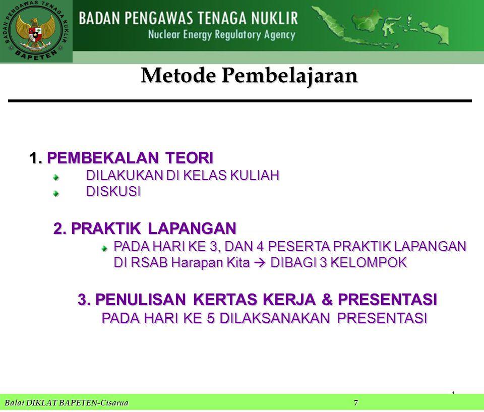Metode Pembelajaran PEMBEKALAN TEORI 2. PRAKTIK LAPANGAN