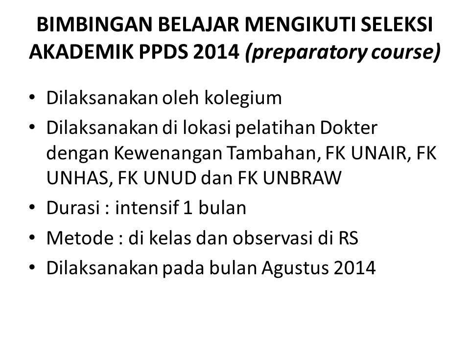 BIMBINGAN BELAJAR MENGIKUTI SELEKSI AKADEMIK PPDS 2014 (preparatory course)
