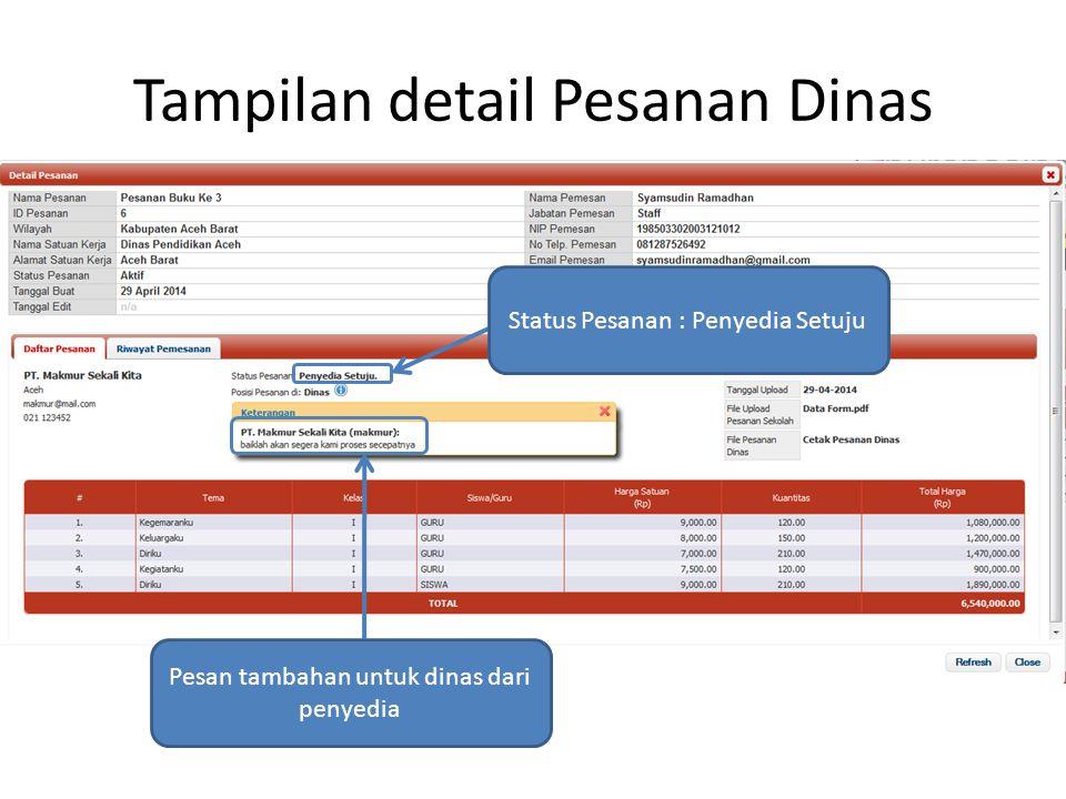 Tampilan detail Pesanan Dinas