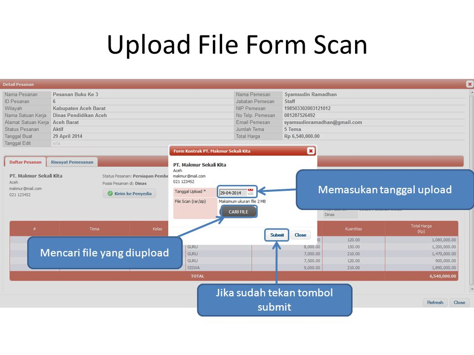 Upload File Form Scan Memasukan tanggal upload