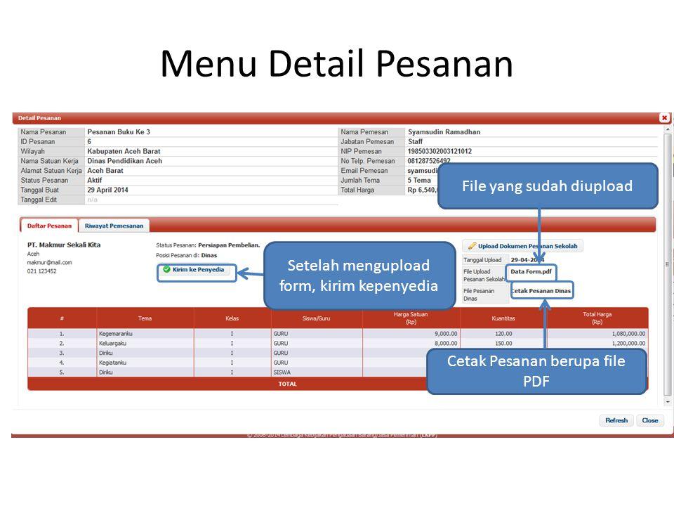 Menu Detail Pesanan File yang sudah diupload