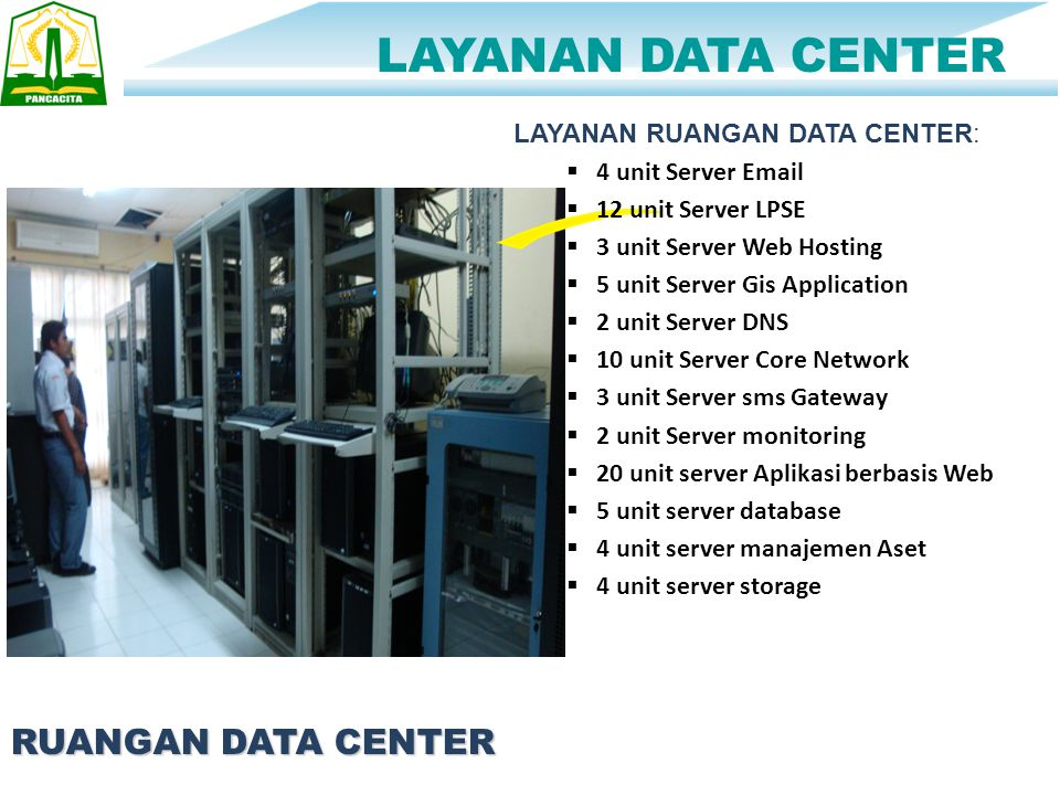 Total 74 Server LAYANAN DATA CENTER RUANGAN DATA CENTER