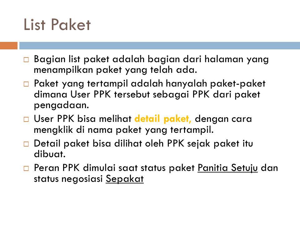 List Paket Bagian list paket adalah bagian dari halaman yang menampilkan paket yang telah ada.