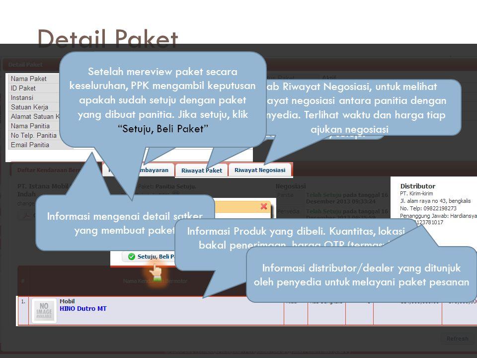 Informasi mengenai detail satker yang membuat paket