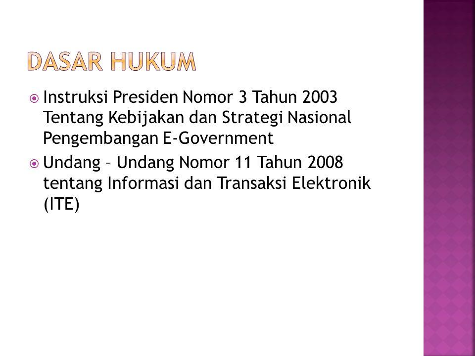 Dasar hukum Instruksi Presiden Nomor 3 Tahun 2003 Tentang Kebijakan dan Strategi Nasional Pengembangan E-Government.