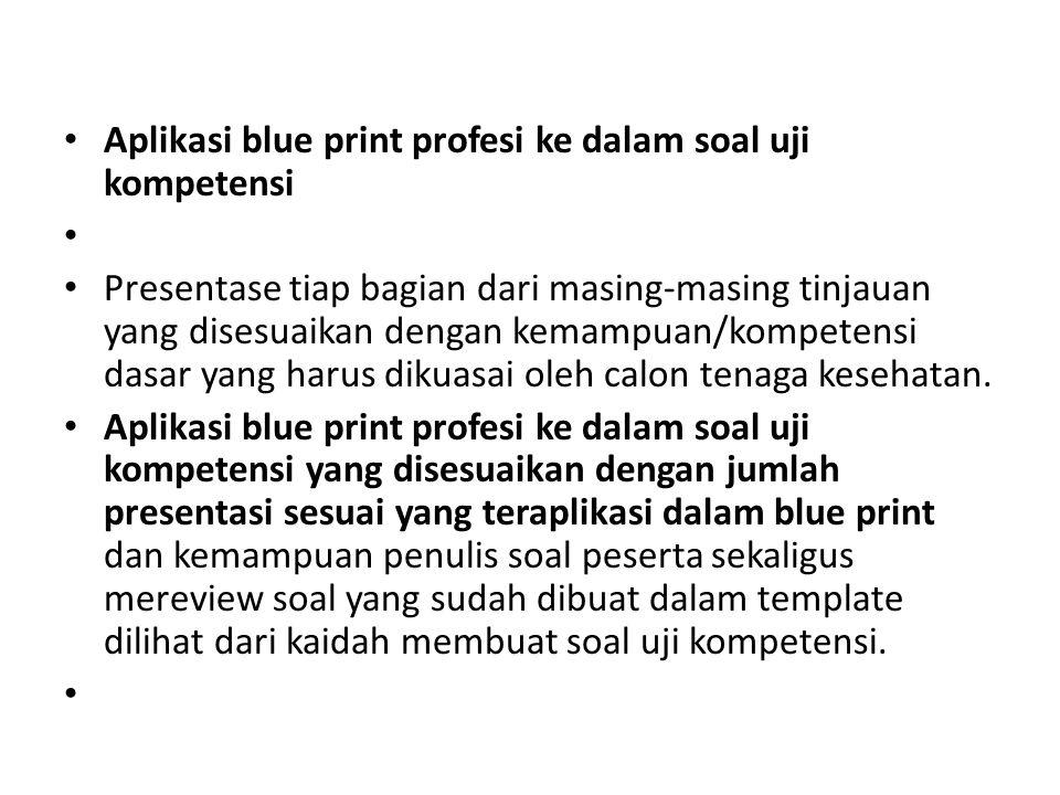 Aplikasi blue print profesi ke dalam soal uji kompetensi