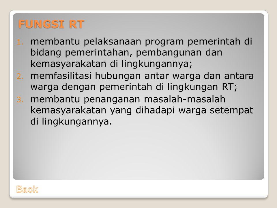 FUNGSI RT membantu pelaksanaan program pemerintah di bidang pemerintahan, pembangunan dan kemasyarakatan di lingkungannya;
