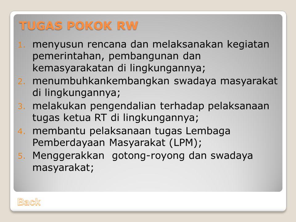 TUGAS POKOK RW menyusun rencana dan melaksanakan kegiatan pemerintahan, pembangunan dan kemasyarakatan di lingkungannya;