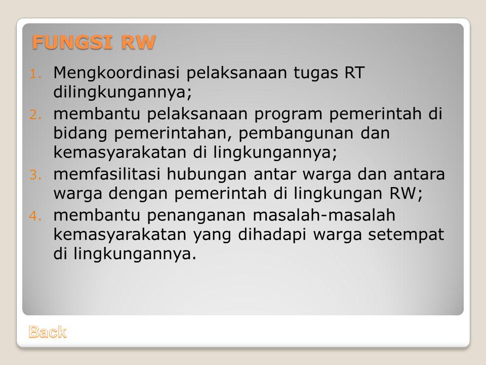 FUNGSI RW Mengkoordinasi pelaksanaan tugas RT dilingkungannya;