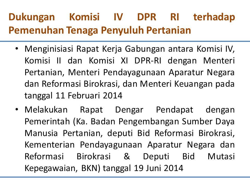 Dukungan Komisi IV DPR RI terhadap Pemenuhan Tenaga Penyuluh Pertanian