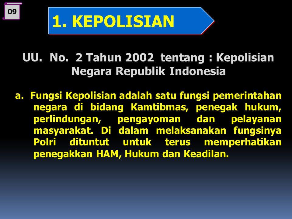 UU. No. 2 Tahun 2002 tentang : Kepolisian Negara Republik Indonesia