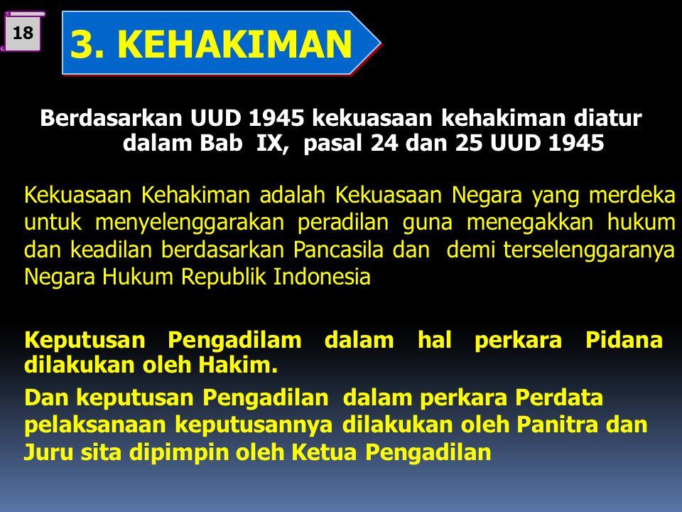 18 3. KEHAKIMAN. Berdasarkan UUD 1945 kekuasaan kehakiman diatur dalam Bab IX, pasal 24 dan 25 UUD 1945.