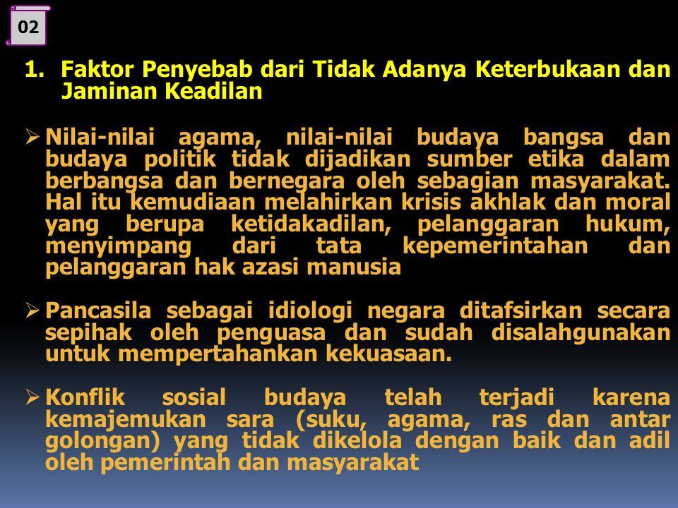 1. Faktor Penyebab dari Tidak Adanya Keterbukaan dan Jaminan Keadilan