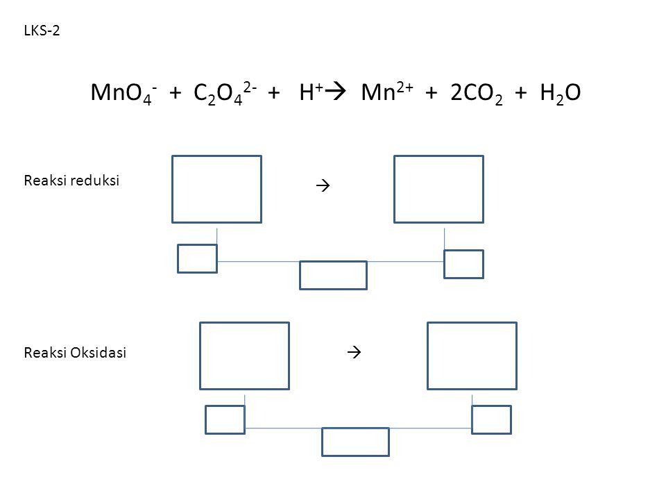 MnO4- + C2O42- + H+ Mn2+ + 2CO2 + H2O