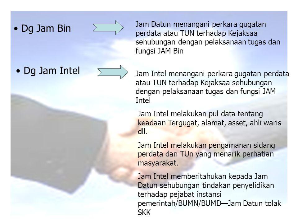 Jam Datun menangani perkara gugatan perdata atau TUN terhadap Kejaksaa sehubungan dengan pelaksanaan tugas dan fungsi JAM Bin