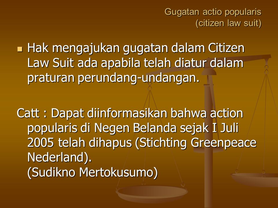 Gugatan actio popularis (citizen law suit)