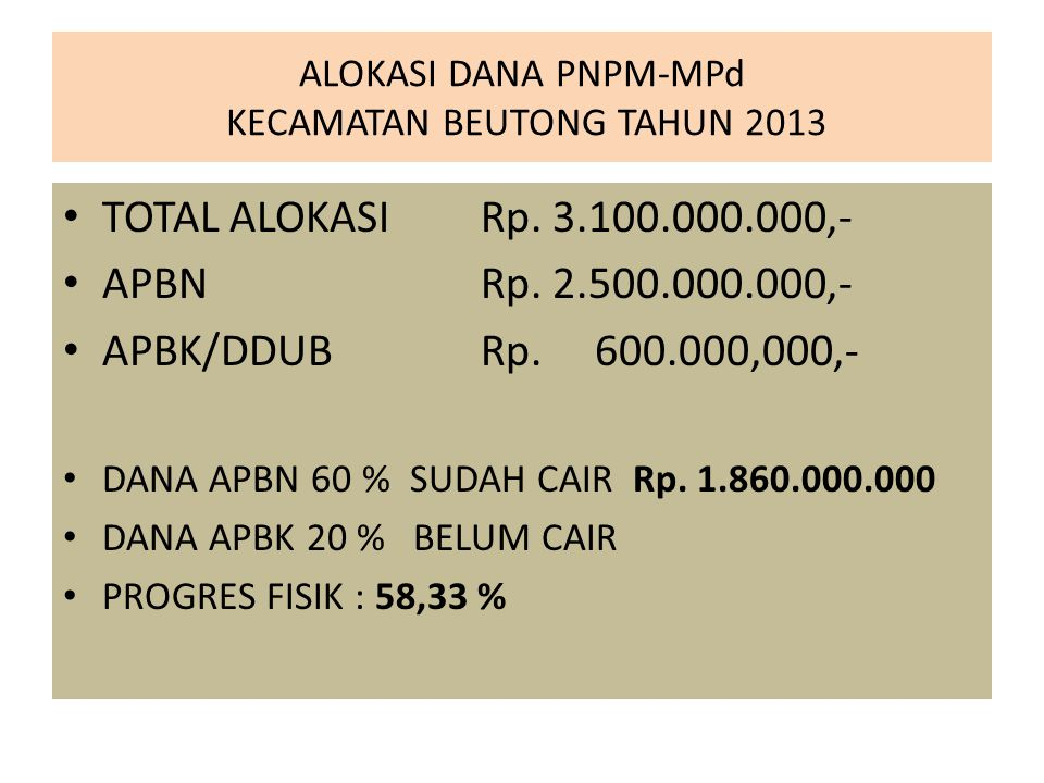 ALOKASI DANA PNPM-MPd KECAMATAN BEUTONG TAHUN 2013
