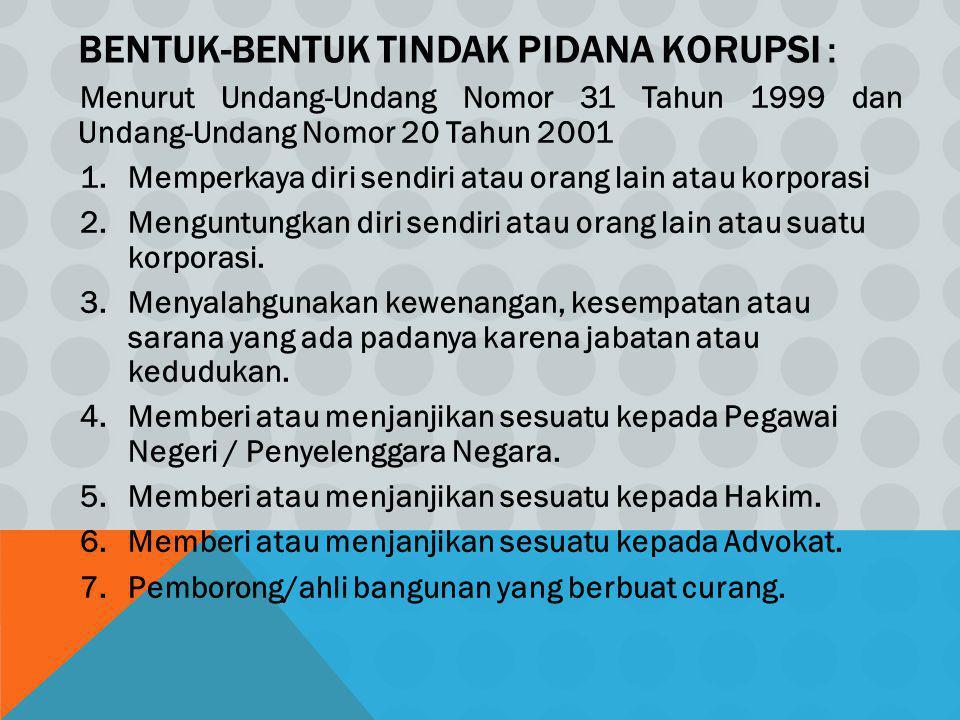 Bentuk-Bentuk Tindak Pidana Korupsi :